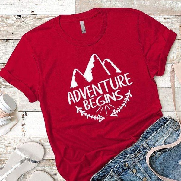 Adventure Begins Premium Tees T-Shirts CustomCat Red X-Small