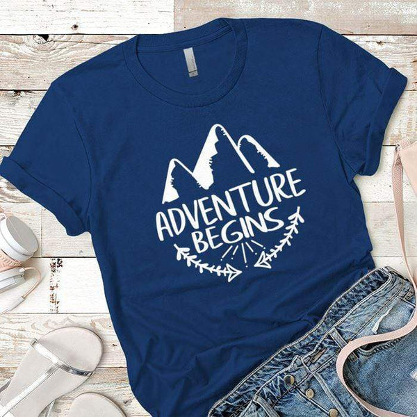 Adventure Begins Premium Tees T-Shirts CustomCat Royal X-Small