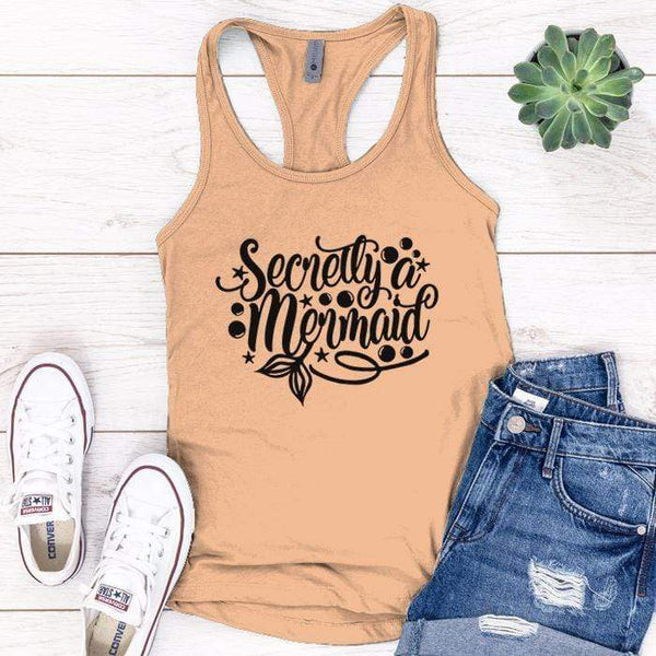 Secretly Mermaid Premium Tank Tops Apparel Edge Light Orange S
