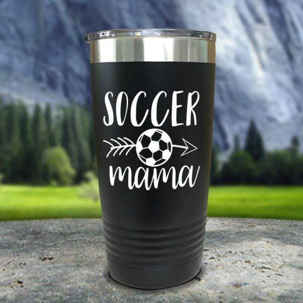 Soccer Mama Color Printed Tumblers Tumbler Nocturnal Coatings 20oz Tumbler Black