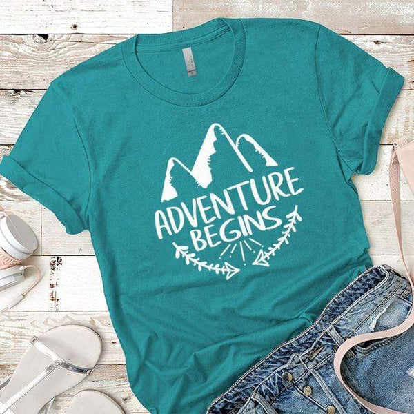 Adventure Begins Premium Tees T-Shirts CustomCat Tahiti Blue X-Small