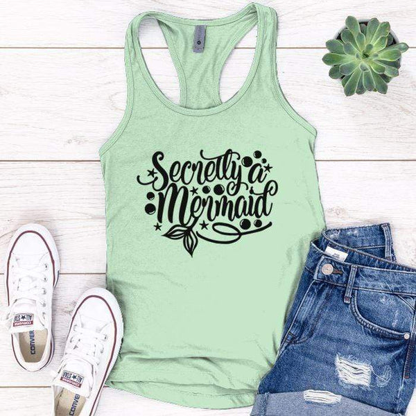 Secretly Mermaid Premium Tank Tops Apparel Edge Minty S