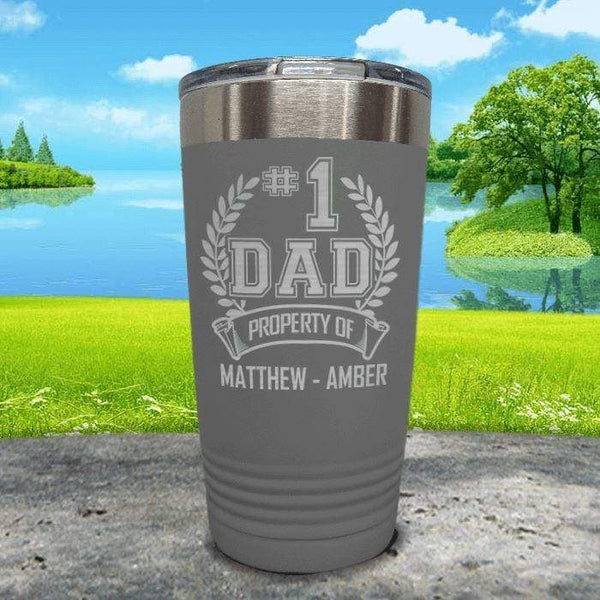 CUSTOM #1 Dad Engraved Tumblers Tumbler ZLAZER 20oz Tumbler Grey