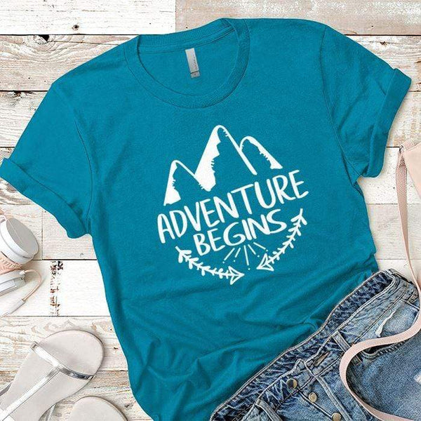 Adventure Begins Premium Tees T-Shirts CustomCat Turquoise X-Small