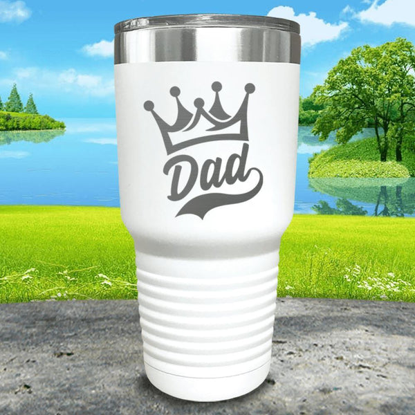 King Dad Engraved Tumbler Tumbler ZLAZER 30oz Tumbler White