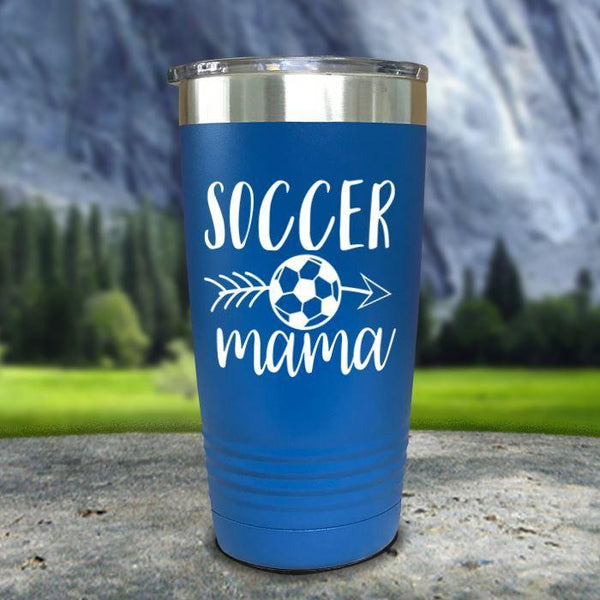 Soccer Mama Color Printed Tumblers Tumbler Nocturnal Coatings 20oz Tumbler Blue