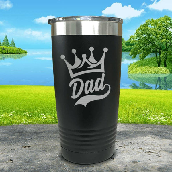 King Dad Engraved Tumbler Tumbler ZLAZER 20oz Tumbler Black