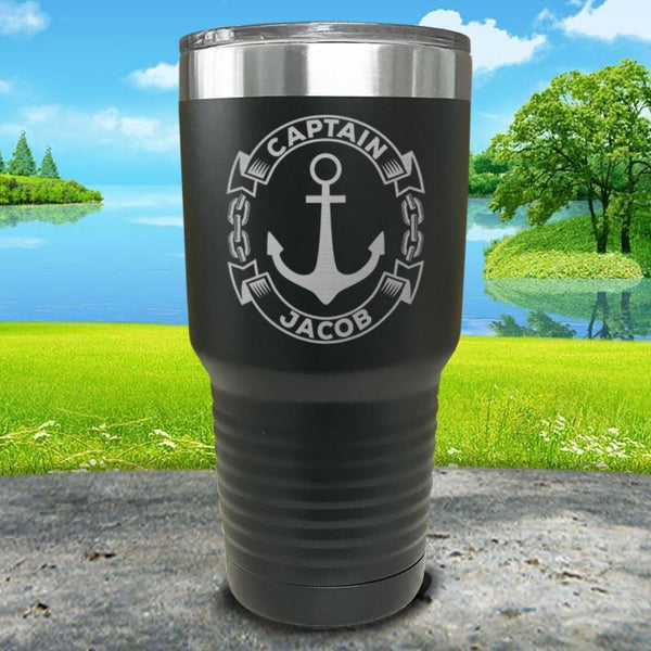 Captain Anchor (CUSTOM) Engraved Tumbler Tumbler ZLAZER 30oz Tumbler Black