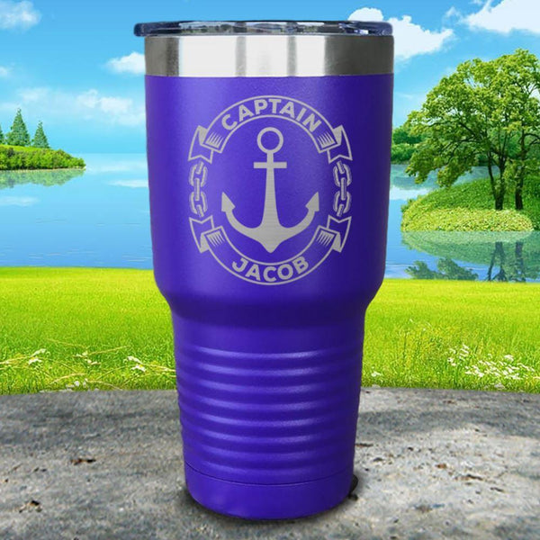 Captain Anchor (CUSTOM) Engraved Tumbler Tumbler ZLAZER 30oz Tumbler Royal Purple