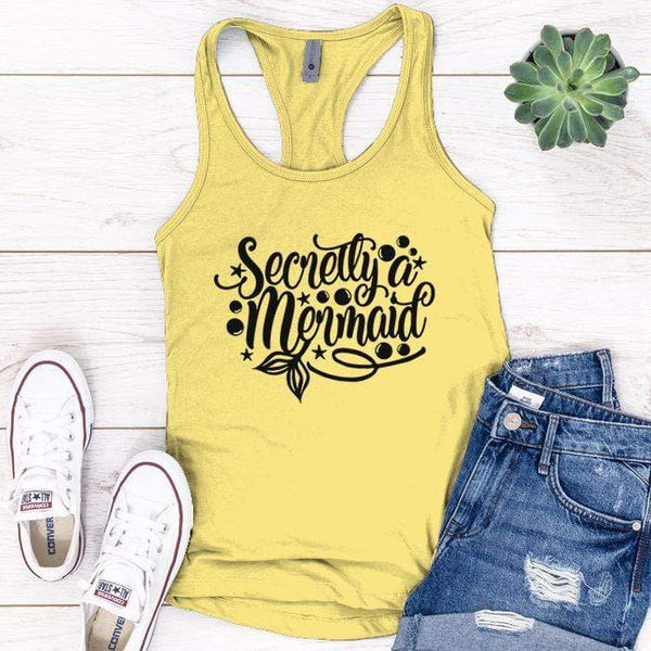 Secretly Mermaid Premium Tank Tops Apparel Edge Banana Cream S