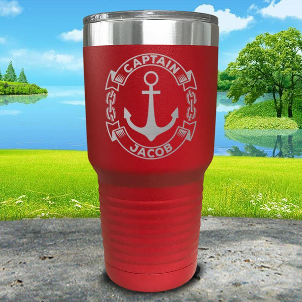 Captain Anchor (CUSTOM) Engraved Tumbler Tumbler ZLAZER 30oz Tumbler Red