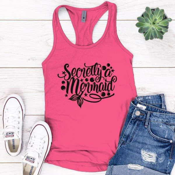 Secretly Mermaid Premium Tank Tops Apparel Edge Pink S