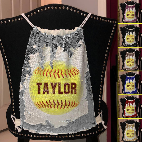 Softball Personalized Magic Sequin Backpacks Sequin Backpack BLINGZ