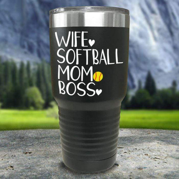 Wife Softball Mom Boss Color Printed Tumblers Tumbler Nocturnal Coatings 30oz Tumbler Black