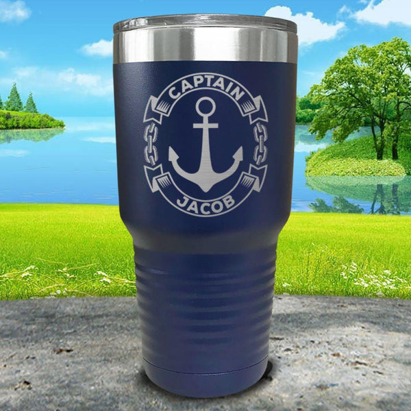 Captain Anchor (CUSTOM) Engraved Tumbler Tumbler ZLAZER 30oz Tumbler Navy