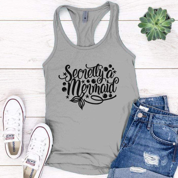 Secretly Mermaid Premium Tank Tops Apparel Edge Heather Grey S