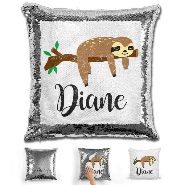 Sloth Personalized Magic Sequin Pillow Pillow GLAM Silver
