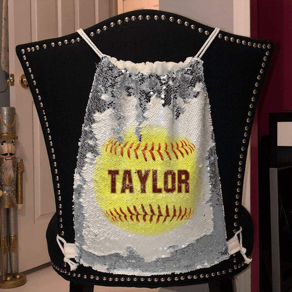Softball Personalized Magic Sequin Backpacks Sequin Backpack BLINGZ Silver