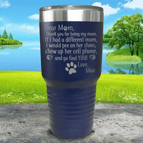 PERSONALIZED Dear Dog Mom Love Your Dog Engraved Tumbler Tumbler ZLAZER 30oz Tumbler Navy