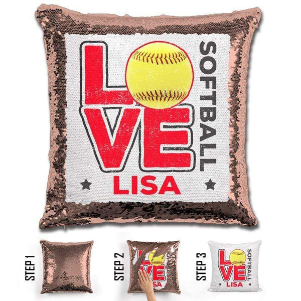 Personalized LOVE Softball Magic Sequin Pillow Pillow GLAM Rose Gold Red