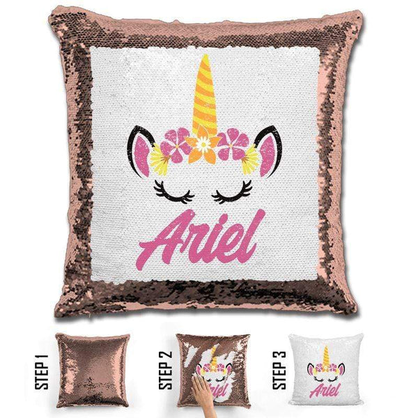 Unicorn Personalized Magic Sequin Pillow Pillow GLAM Rose Gold