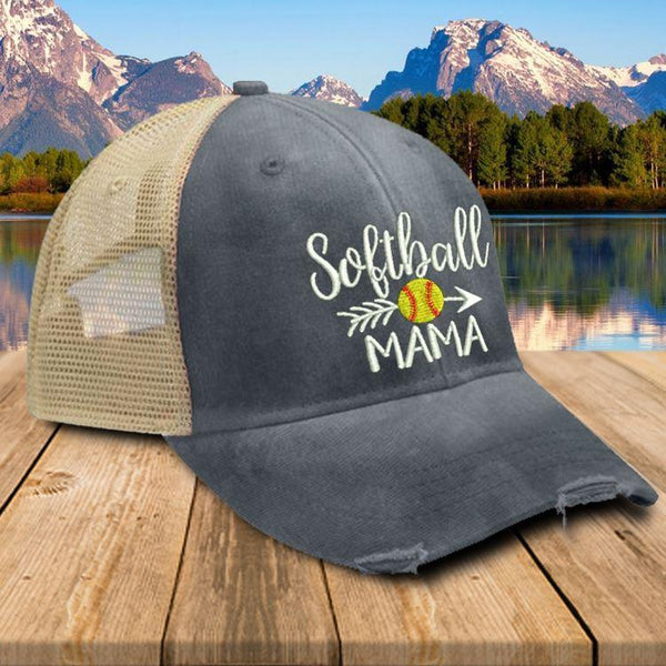 Softball Mama Trucker Hat Hat Edge Navy