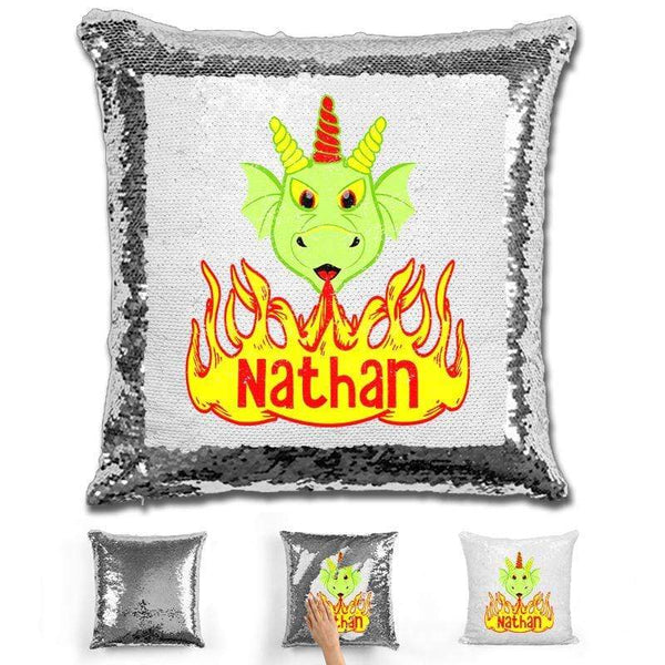 Dragon Personalized Magic Sequin Pillow Pillow GLAM Silver