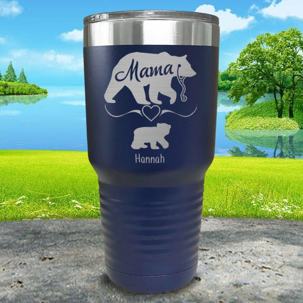 Mama Bear Nurse (CUSTOM) With Child's Name Engraved Tumblers Tumbler ZLAZER 30oz Tumbler Navy