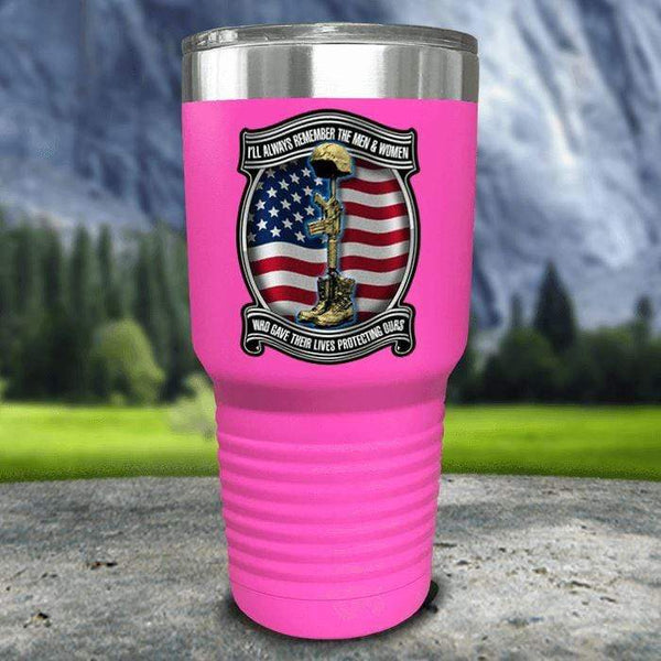 Veteran Always Remember Color Printed Tumblers Tumbler Nocturnal Coatings 30oz Tumbler Pink