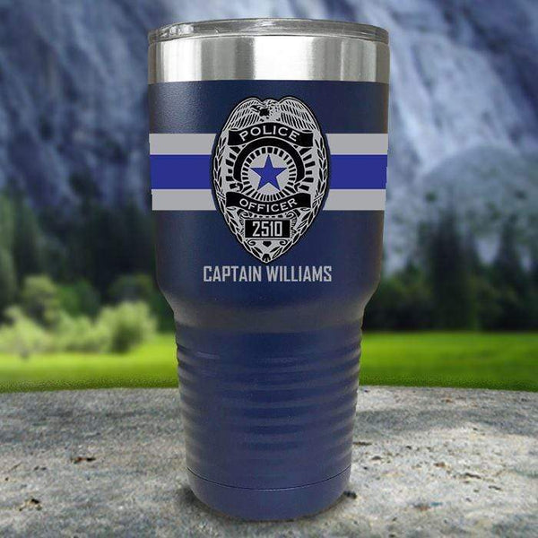 Personalized Police FULL Wrap Color Printed Tumblers Tumbler Nocturnal Coatings 30oz Tumbler Navy