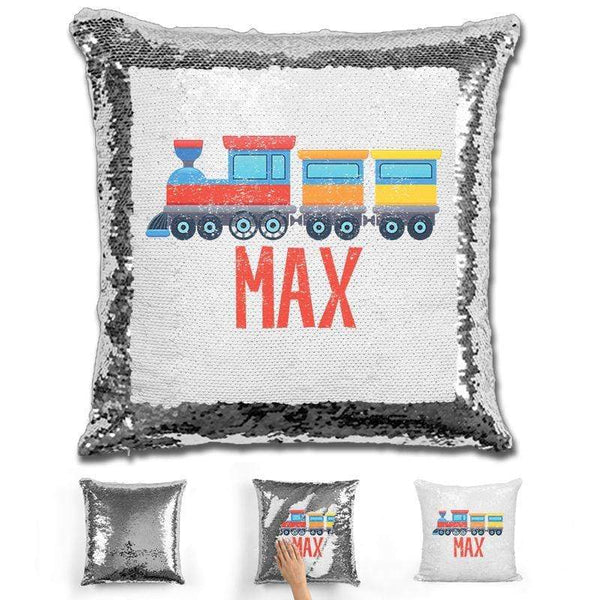 Train Personalized Magic Sequin Pillow Pillow GLAM Silver