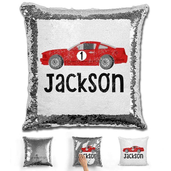 Race Car Personalized Magic Sequin Pillow Pillow GLAM Silver
