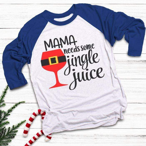Mama Needs Jingle Juice Raglan T-Shirts CustomCat White/Royal X-Small