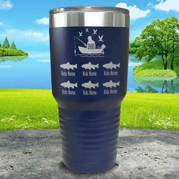 Fishing Dad (CUSTOM) With Child's Name Engraved Tumblers Tumbler ZLAZER 30oz Tumbler Navy