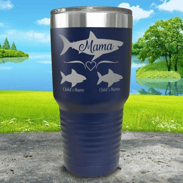Mama Shark (CUSTOM) With Child's Name Engraved Tumblers Tumbler Southland 30oz Tumbler Navy