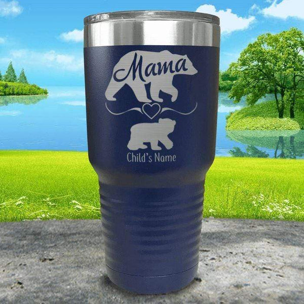 Mama Bear (CUSTOM) With Child's Name Engraved Tumblers Tumbler ZLAZER 30oz Tumbler Navy