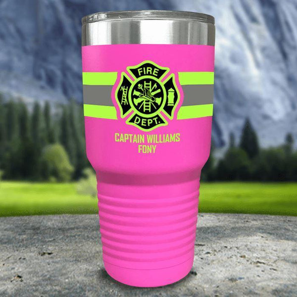Personalized Firefighter FULL Wrap Color Printed Tumblers Tumbler Nocturnal Coatings 30oz Tumbler Pink