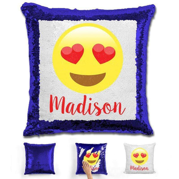 Heart Eyes Emoji Personalized Magic Sequin Pillow Pillow GLAM Blue