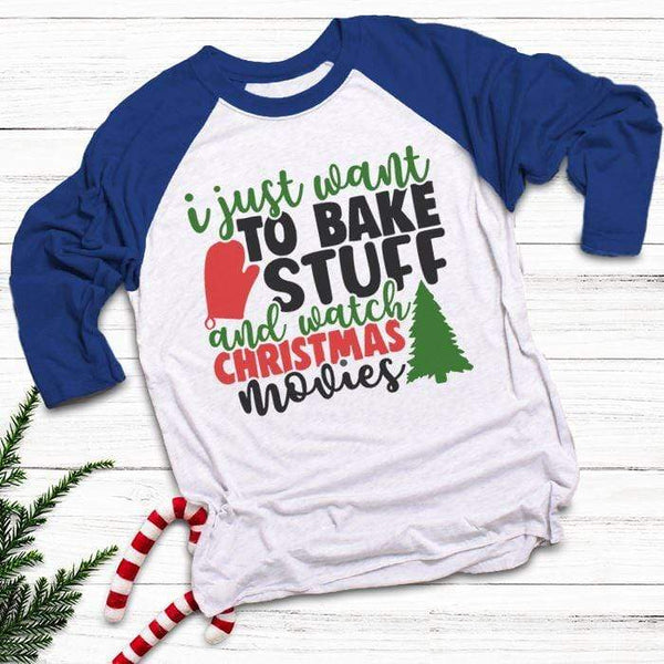 Want To Bake Watch Christmas Movies Raglan T-Shirts CustomCat White/Royal X-Small