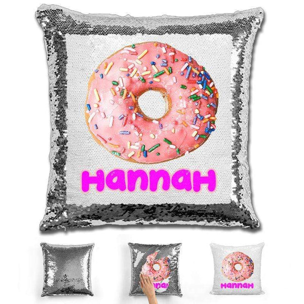 Donut Personalized Magic Sequin Pillow Pillow GLAM Silver
