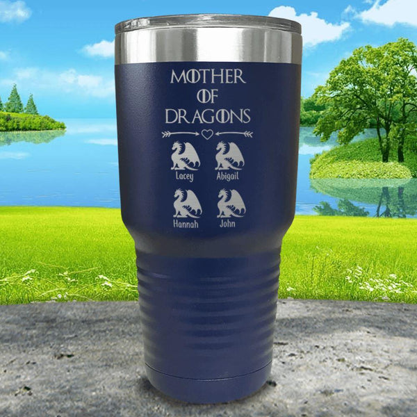 Mother Of Dragons (CUSTOM) With Child's Name Engraved Tumblers Tumbler ZLAZER 30oz Tumbler Navy