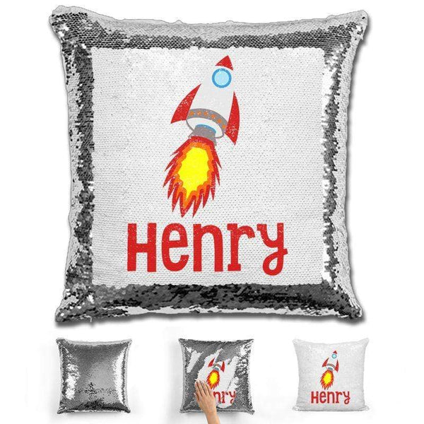 Rocket Ship Personalized Magic Sequin Pillow Pillow GLAM Silver