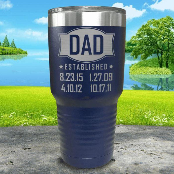Dad Established CUSTOM Dates Engraved Tumblers Tumbler ZLAZER 30oz Tumbler Navy