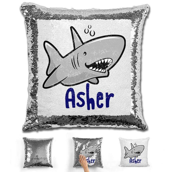 Shark Personalized Magic Sequin Pillow Pillow GLAM Silver