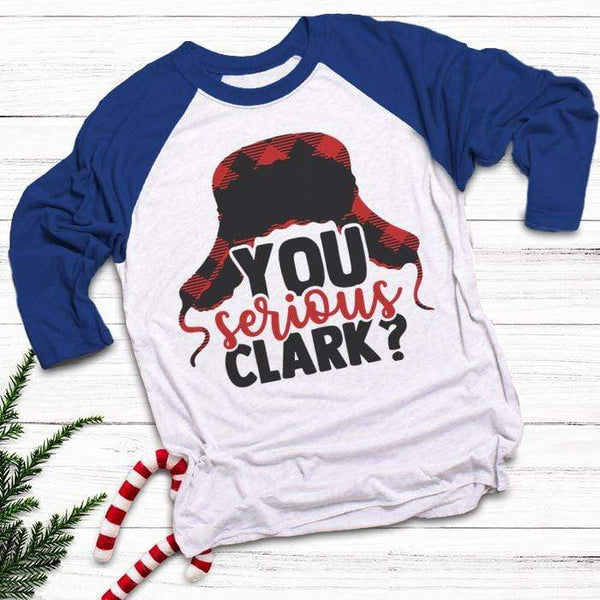 You Serious Clark Raglan T-Shirts CustomCat White/Royal X-Small