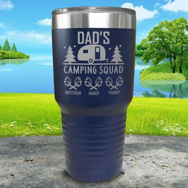 Dad's Camping Squad (CUSTOM) With Child's Name Engraved Tumblers Tumbler ZLAZER 30oz Tumbler Navy