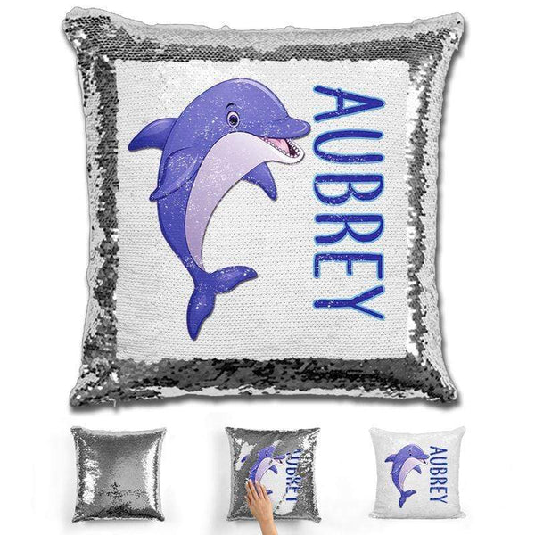 Dolphin Personalized Magic Sequin Pillow Pillow GLAM Silver