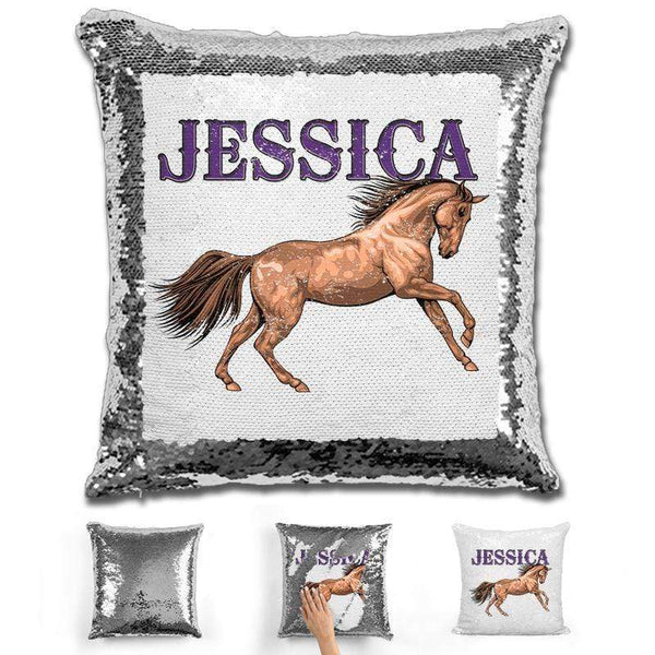 Beautiful Horse Personalized Magic Sequin Pillow Pillow GLAM Silver