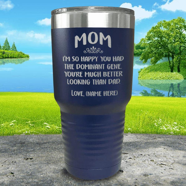 Mom Dominant Gene (CUSTOM) With Child's Name Engraved Tumbler Tumbler ZLAZER 30oz Tumbler Navy