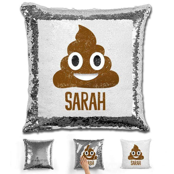Personalized Poop Emoji Personalized Magic Sequin Pillow Pillow GLAM Silver
